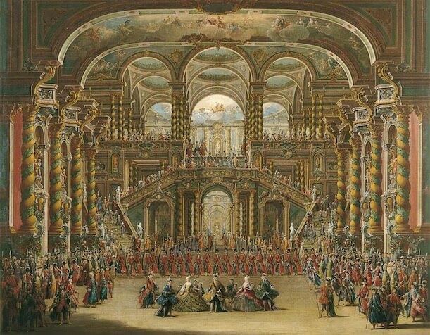 Encenação de uma ópera em uma teatro romano.