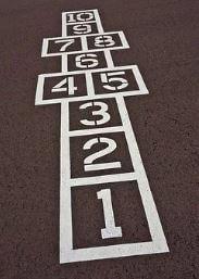 Quadrados de 1 a 10 representando o jogo da Amarelinha.