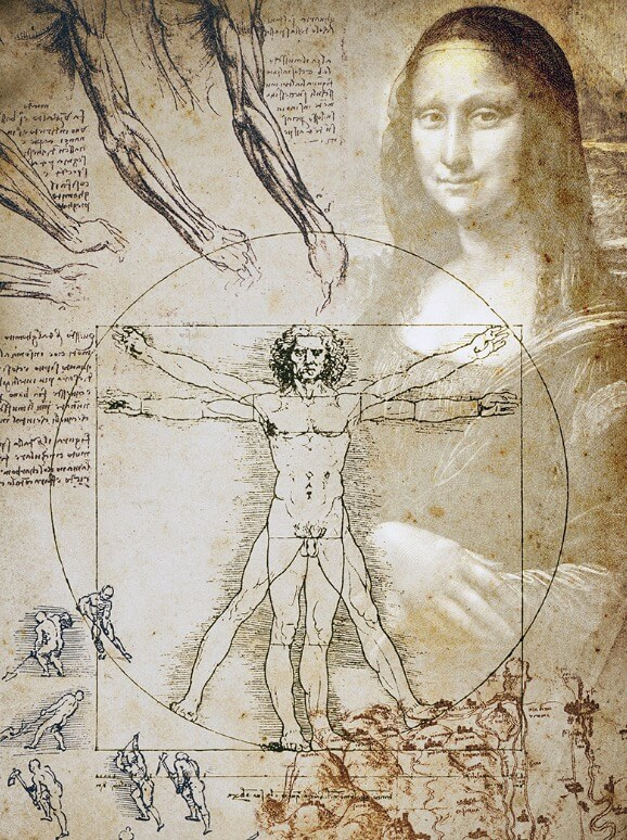 Conunto de obras de Leonardo da Vinci sobrepostas.