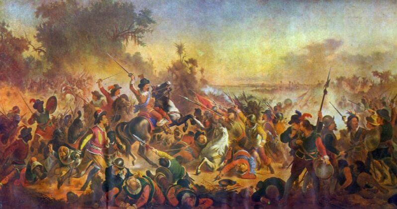 Quadro de Victor Meirelles com cenas das batalhas.