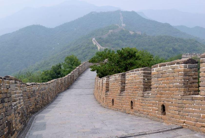 Foto tirada em cima da Muralha da China