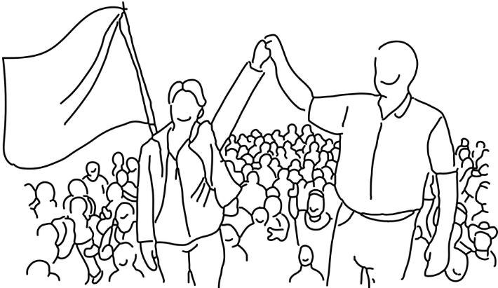 Figura representando a festa de um partido político ao se eleger.