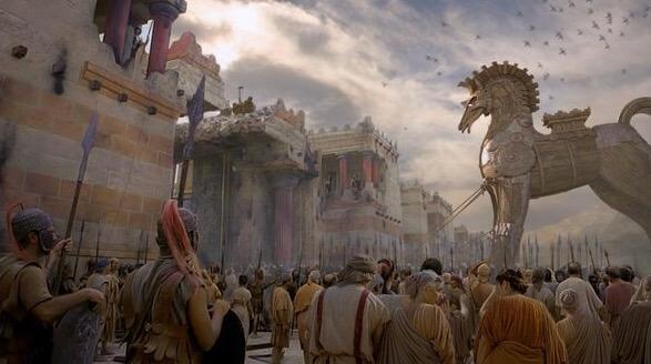 Cena do Cavalo de Troia adentrando a cidade.