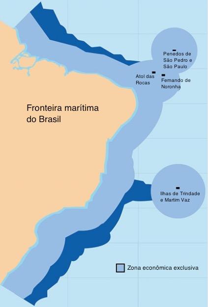Mapa da fronteira marítima brasileira.