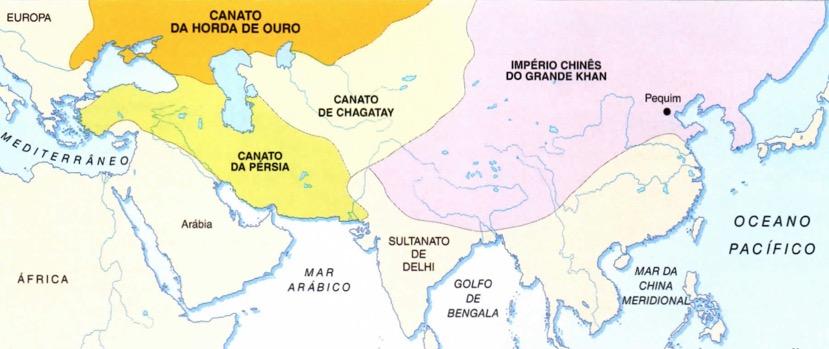 Mapa dos quatro canatos do Império Mongol.