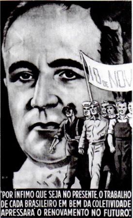 Retrato de Vargas com trabalhadores ao fundo.