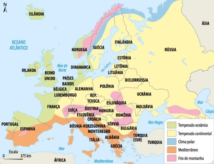 Mapa climático da Europa.