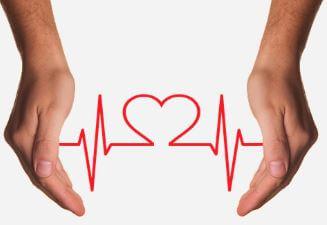 Figura representando os batimentos cardíacos em forma de coração.