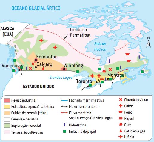 Mapa das regiões econômicas canadense.
