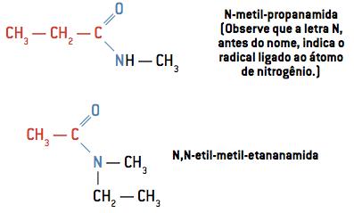 N-metil-propanamida (Observe que a letra N, antes do nome, indica o radical ligado ao átomo de nitrogênio.)