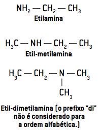 """Etil-dimetilamina (o prexo """"di"""" não é considerado para a ordem alfabética.)"""