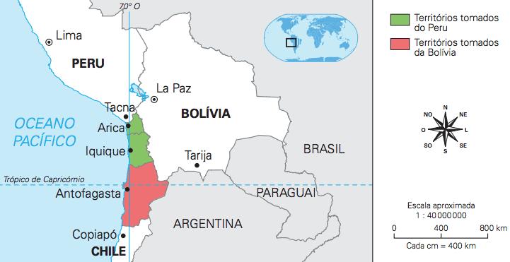 Mapa mostrando as consequências territoriais da Guerra do Pacífico.