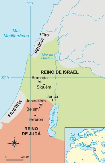 Mapa dos reinos de Israel divididos.