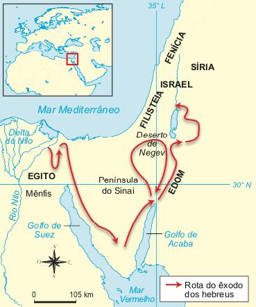 Mapa onde mostra a origem dos hebreus e sua rota.