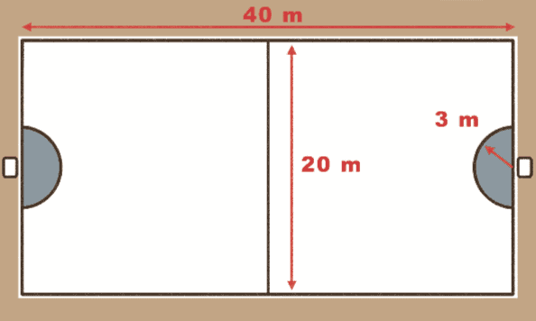 Desenho de uma quadra de tchoukbal.