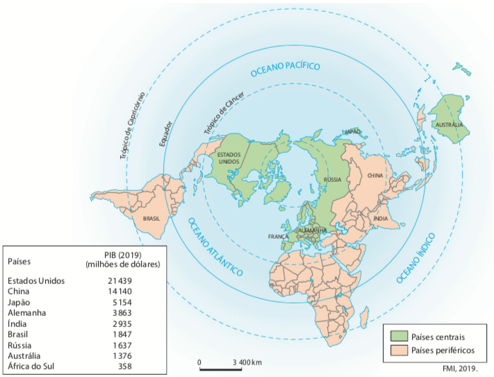 Mapa com a divisão dos países de acordo com o sistema-mundo.