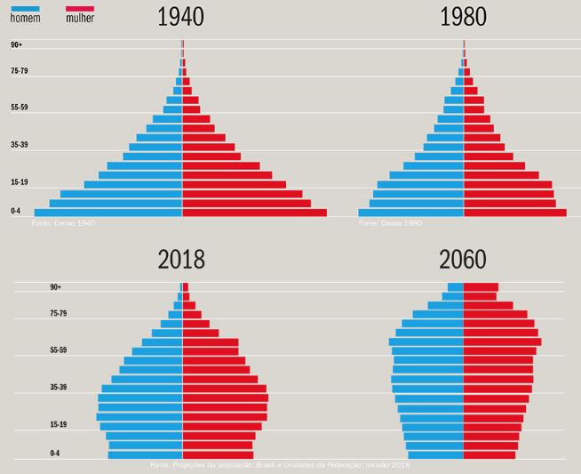 Gráficos mostrando a evolução da pirâmide etária brasileira.