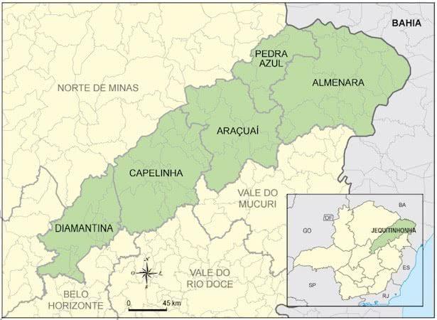 Mapa do Vale do Jequitinhonha.