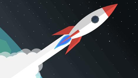 Desenho de um foguete saindo da órbita terrestre.