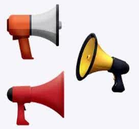 Imagens de megafones que são muito utilizados em manifestos.
