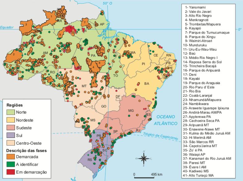 Mapa com as demarcações, extensões das terras dos povos indígenas do Brasil.