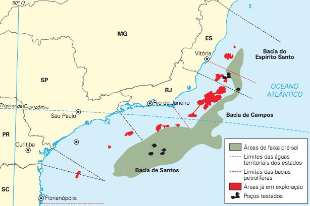 Mapa informando a localização das reservas do pré-sal brasileiro.