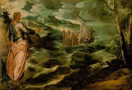Quadro Cristo no mar da Galileia deTintoretto