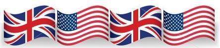Bandeiras do EUA e Grã-bretanha