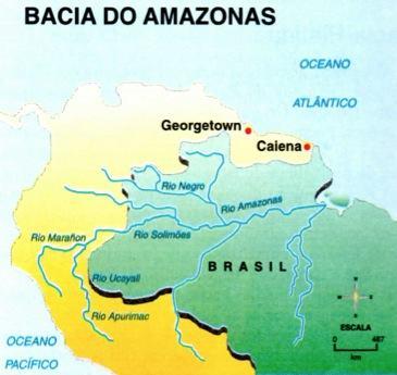 Mapa dos rios da Bacia Amazônica