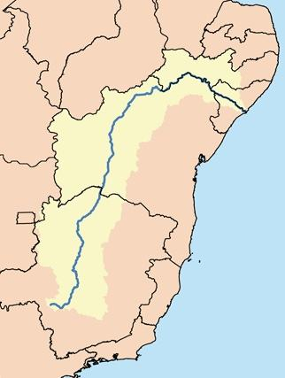 Mapa da bacia do rio São Francisco