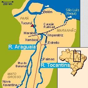 Mapa da bacia dos rios Tocantins e Araguaia