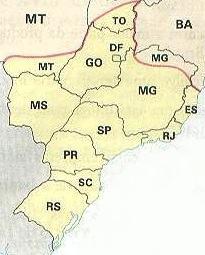 Mapa da Região Centro-Sul