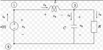 circuito com indutor, capacitor e resistor.