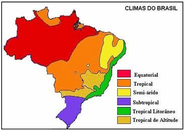 Mapa dos climas no Brasil
