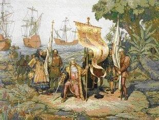 Imagem da chegada de Cristóvão Colombo à América