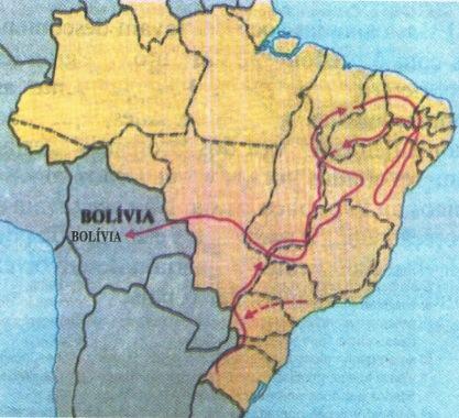 Caminho percorrido pela Coluna Prestes no Brasil