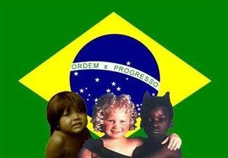 Crianças representando a composição étnica do Brasil