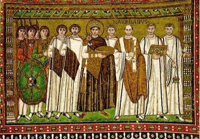 Representação em mosaico do imperador Juliano e sua corte