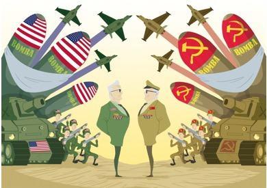 Representação da corrida armamentista com disputa de forças bélicas entre EUA e URSS.