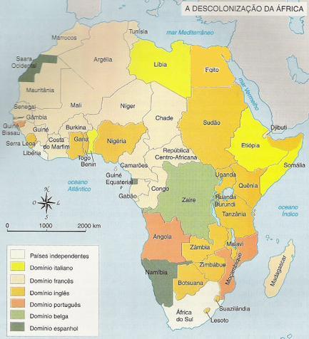 Mapa da descolonização da África
