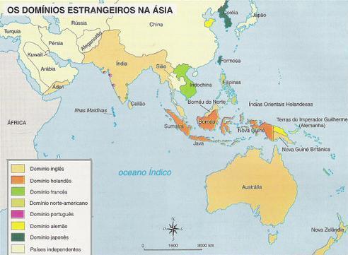 Mapa da descolonização da Ásia