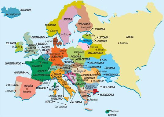 Mapa do continente europeu