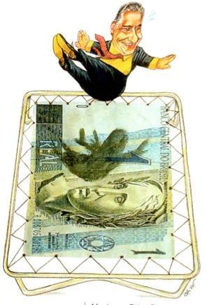 Charge de Fernando Henrique pulando em uma cama elástica de um Real.