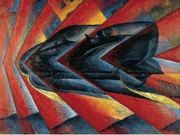 Pintura futurista de Luigi Russolo: O Dinamismo de um Automóvel.