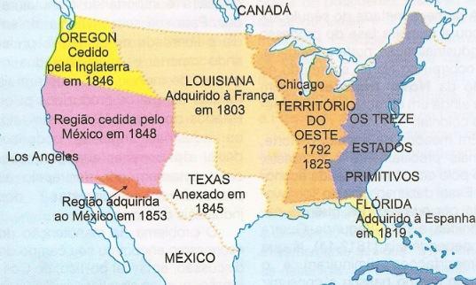 Mapa que mosta a Marcha para o Oeste