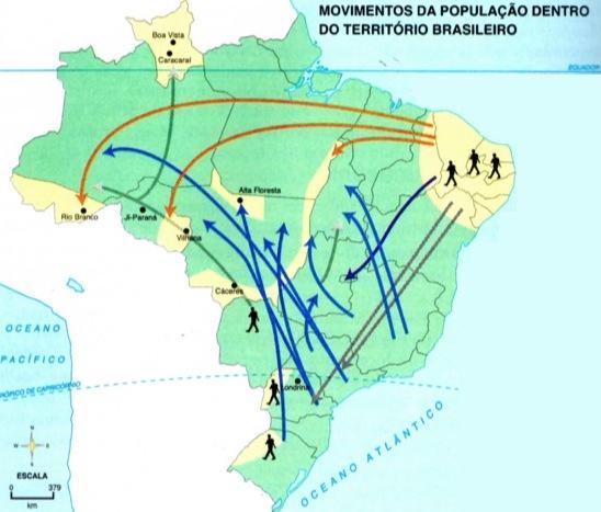 Mapa das migrações internas no Brasil