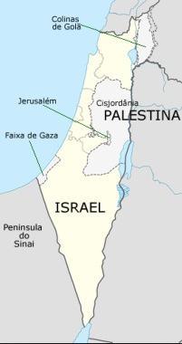 Mapa de Israel e Palestina