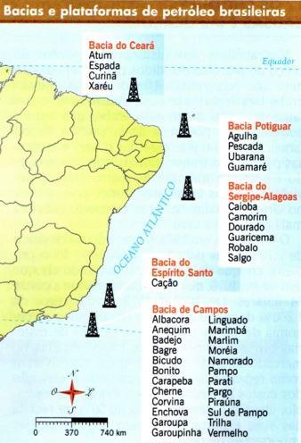 Bacias e plataformas de petróleo brasileiras