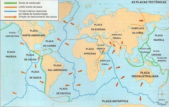 Mapa com informações sobre as placas tectônicas existentes no mundo