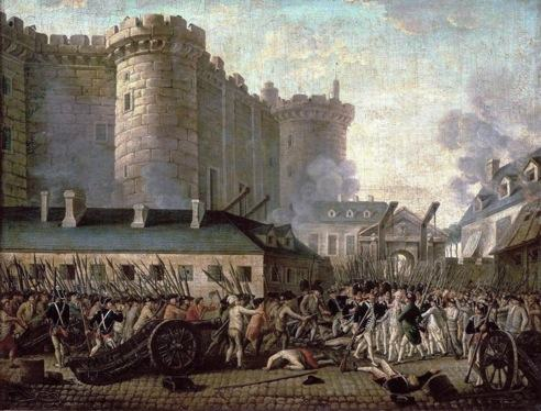 Quadro de Prieur retratando a tomada da Bastilha na Revolução Francesa